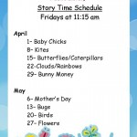 Storytime  for April-May 2016