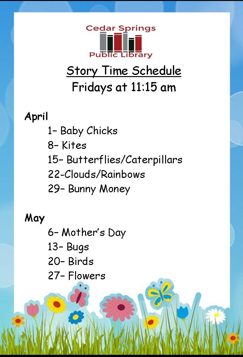 Storytime Schedule April- May 2016 for web