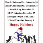 Closed for Chirstmas Posting 2014