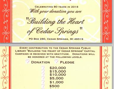 Building the Heart Of Cedar Springs Pledge Card
