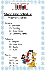 storytime schedule for Jan-March