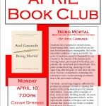 April Book Club, Monday the 18th at 7 pm