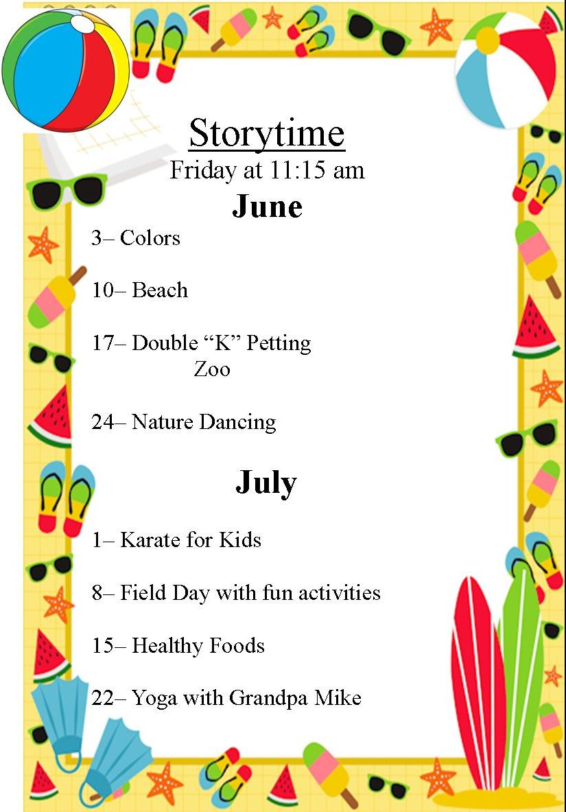 Schedule for storytime for June