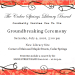 Ground Breaking Ceremony  July 9, 2016