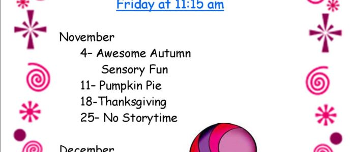 Welcome to Storytime! This is the new schedule:)