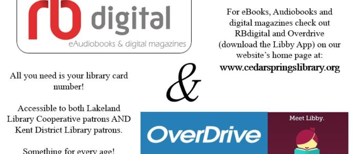Check out Overdrive and RBdigital for eBooks, Audiobooks and digital magazines!