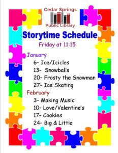 Pre-School Storytime @ Cedar Springs Public Library | Cedar Springs | Michigan | United States