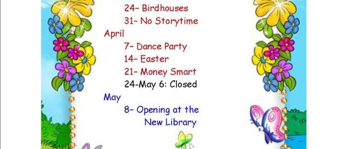 Spring Storytime Schedule