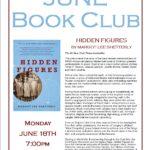 June Book Club: Hidden Figures  – Monday June 18th