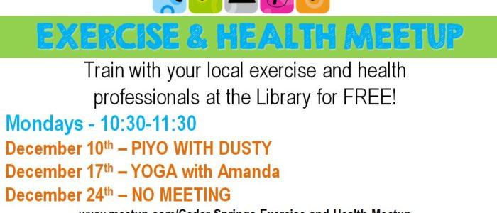 Health & Exercise Meetup – Monday's @10:30