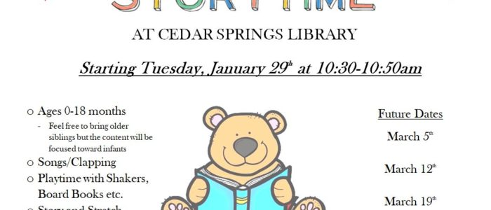 COMING JANUARY 2019 – BABY STORYTIME – TUESDAYS AT 10:30AM