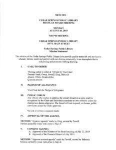 Library Board Meeting @ Cedar Springs Public Library | Cedar Springs | Michigan | United States