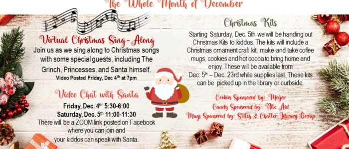 Christmas Open House – Santa ZOOM Links Posted HERE
