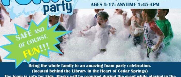 Foam Party – Summer Reading Program – POSTPONED UNTIL JULY 30TH