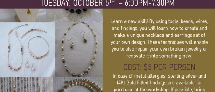 Jewelry Making Class – $5 Per Person, Sign Up Required